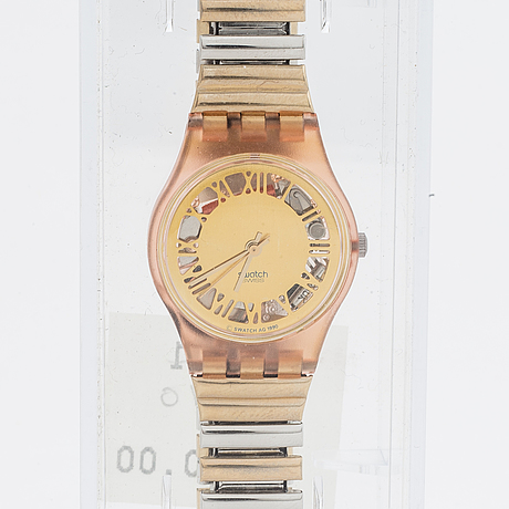 Swatch, pink nugget, armbandsur, 25 mm.