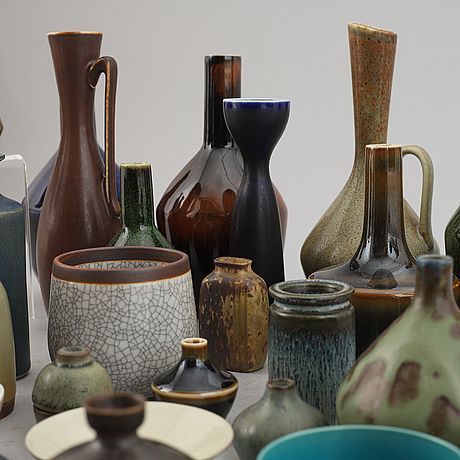 A group of stoneware miniatures, 67 pieces, most of them designed by carl-harry stålhane for rörstrand.
