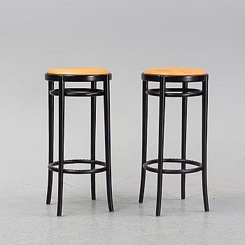 Jonas Bohlin, a pair of bar stools, model *Piruett', Gemla Fabrikers AB, 2013.
