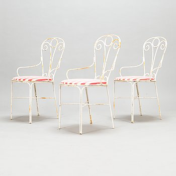 Three garden chairs, latter half of 20th century.