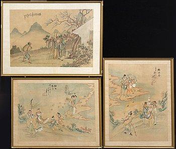 Okänd konstnär 1800/1900-tal ,  3 watercolurs.