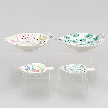 Stig lindberg, four earthenware dishes, gustavsberg studio.