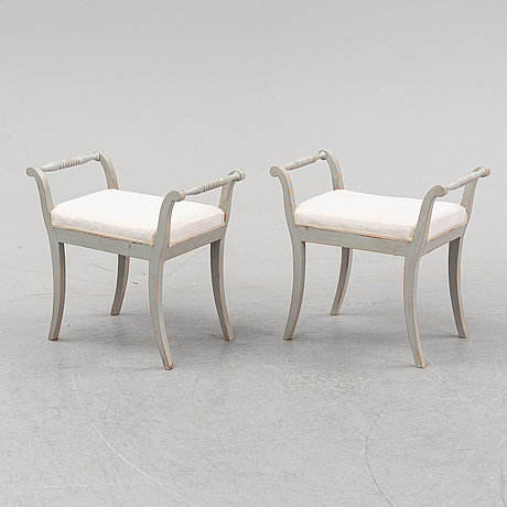 A pair of painted stools, 19th century.