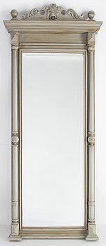 A painted mirror with console table from around the year 1900.