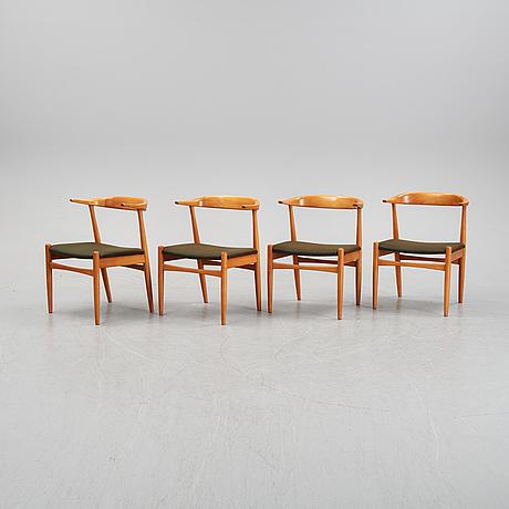 Four beech tree armchairs, 1960's.