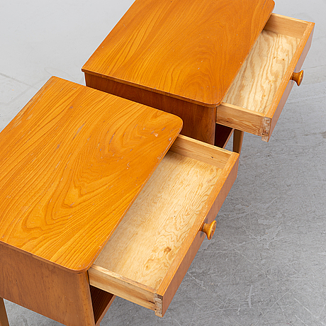 A pair of elm wood bedside tables, mid 20th century.