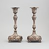 A pair of swedish 19h century silvcer candlesticks, mark of f&w zethelius, stockholm 1844.