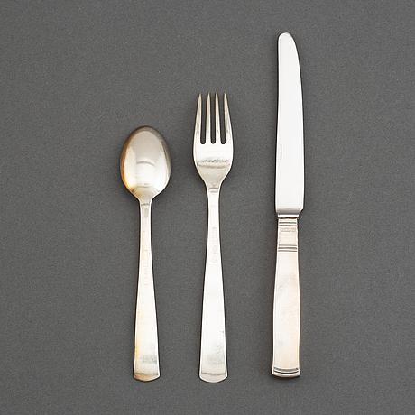 Jacob ängman, a silver cutlery, 'rosenholm', gab (24 pieces).