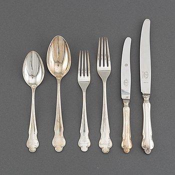 Bestickservis, 36 delar, silver, modell Disa, MGAB, Uppsala bl a 1951.