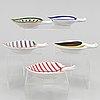 Stig lindberg, five earthenware dishes, gustavsberg studio.