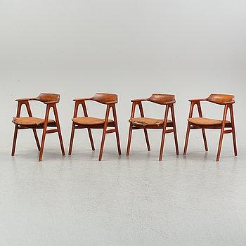 Four model 49 teak armchairs by Erik Kirkegaard, 1960's.