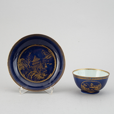 Six powder blue and gilt porcelain cups with saucers, qing dynasty, qianlong (1736-95).