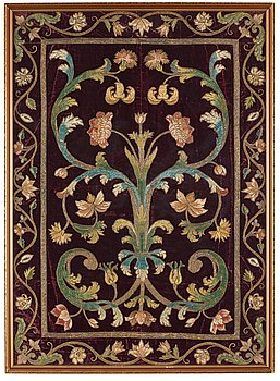 265. An embroidery on velvet, ca 89,5 x 64 cm, probably Italy 17th-18th century.