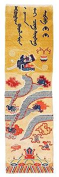 307. Matto, a pillar rug, a semi-antique Chinese, ca 247 x 71 cm.