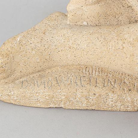 David wretling, sculpture, stone mass. signed.