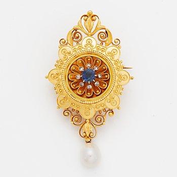 Brooch/pendant,  gold wih sapphire, rose cut diamondsand pearl, c.1870.