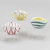 Stig lindberg,  three earthenware bowls, gustavsberg studio.