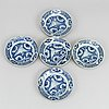 A set of five blue and white dishes, ming dynasty (1368-1644).