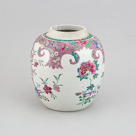 A famille rose jar, qing dynasty, 18th century.