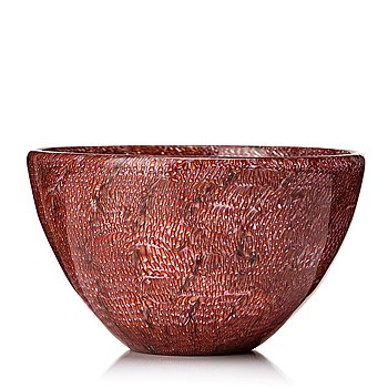 "55A. Paolo Venini, a burgundy and white ""Murrina"" bowl, Italy 1950's."