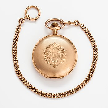 Pocket watch, 58 mm, with watch chain.