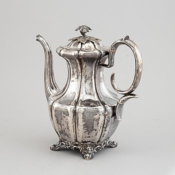 A silver coffee pot by Gustaf Möllenborg, Stockholm, 1842.