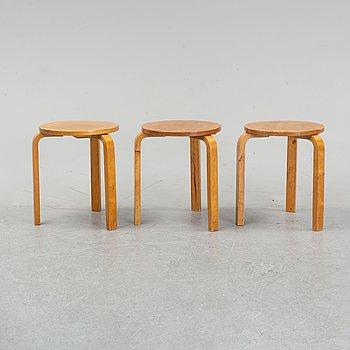 Three model 60 birch stools Alvar Aalto, designed 1933.