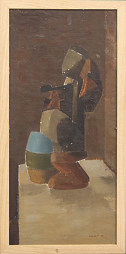Sigfrid södergren, oil on canvas laid on panel signed, dated-56.