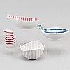 Stig lindberg, three earthenware bowls and a jug, gustavsberg studio.