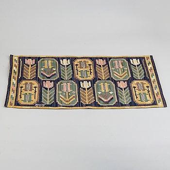 "Märta Måås-Fjetterström, a textile, ""Medaljongerna"", flat weave, 41 x 85 cm, signed AB MMF."