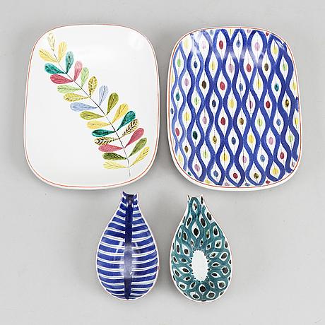 Stig lindberg, two earthenware dishes and two bowls, gustavsberg studio.