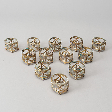 12 gilt silver salt cellars, germany circa 1910, with swedish import marks.