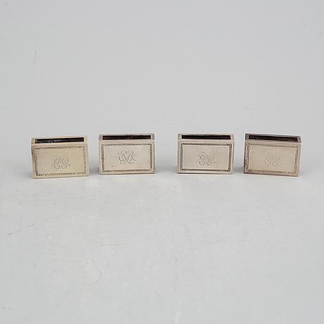 Atelier borgila, 4 tändsticksfodral samt läskpappersvagga, silver, stockholm 1922 samt 1939.