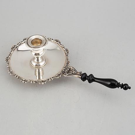 A silver chamber candlestick, b bartolozzi, italy circa 1950.