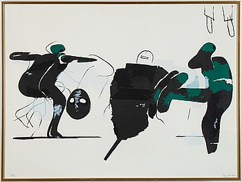 Lage Lindell, lithograph in colours, signed 68/91.