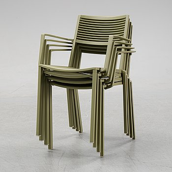 Four 'Easy' aluminum armchairs from FAST furniture.