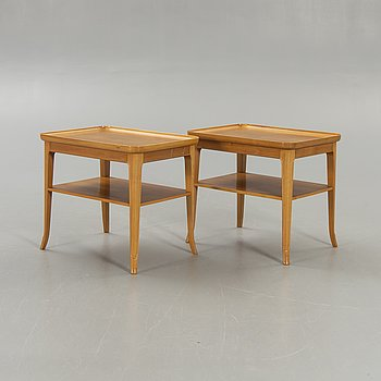 Bedside table / side table, 3 pcs, Alfred Kvarnholts Möbelsnickeri Malmö, 1940-50s.