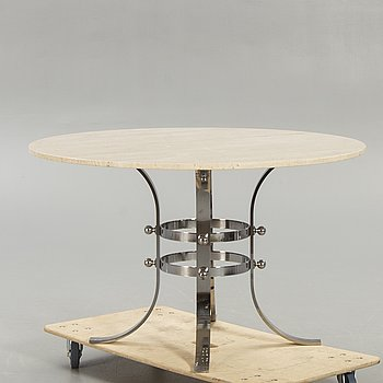 Dining table, Italy, 1970s, travertine.