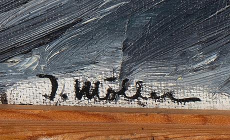 Ingegerd möller, olja på duk uppklistrad på pannå. signerad.