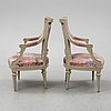 A set of two gustavian armchairs.