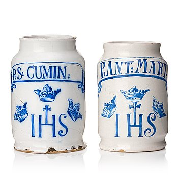 333. Two Swedish faience aphotecary jars, Marieberg, period of Ehrenreich and Rörstrand 18th Century.