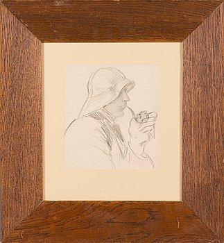 Venny Soldan-Brofeldt, pencil drawing, signed.
