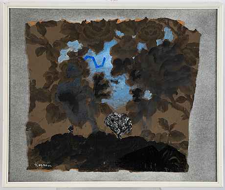 Ingegerd möller, mixed media and collage. signed.