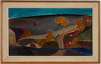 Ingegerd Möller, oil on panel. Signed and dated -53.