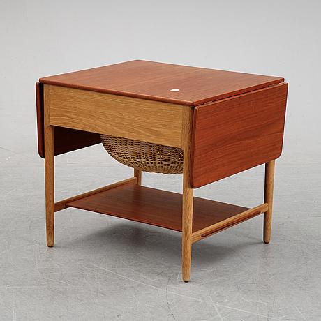 Hans j wegner, an oak and teak at-33 sewing table, for andreas tuck, denmark.