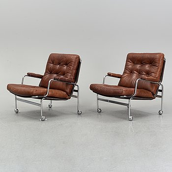 A pair of 'Karin' easy chairs by Bruno Mathsson for Dux, designed 1969.