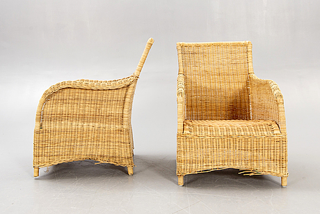 Armchairs / wicker armchairs, a pair, late 20th century.