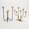 Gunnar ander, ystad metall, candlesticks, 2 pcs, mid-20th century.