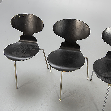"Arne jacobsen, 4 chairs, ""myran"", fritz hansen."