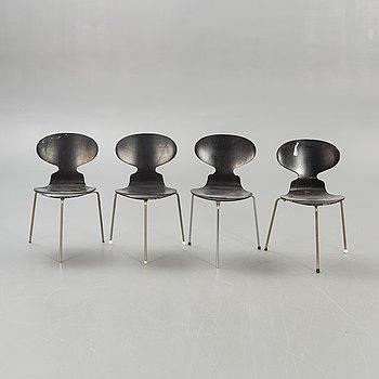"""Arne Jacobsen, stolar 4 st  """"Myran"""" för Fritz Hansen sent 1900-tal."""